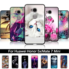Case For Huawei Honor 5X 5 X GR5 3D Relief Print TPU Back Cover for Huawei Mate 7 Mini KIW-L21 Soft Silicone Back Phone Shells