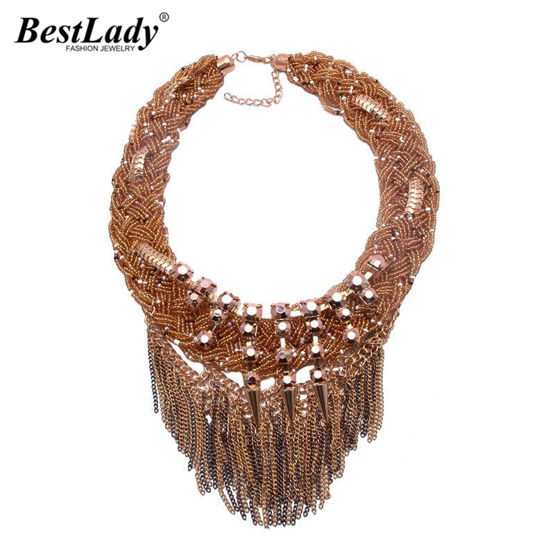 Best lady Big Brand Statement Shourouk Vintage Tassel Fashion Chain Necklace Collar Bib Necklaces Pendants Jewelry