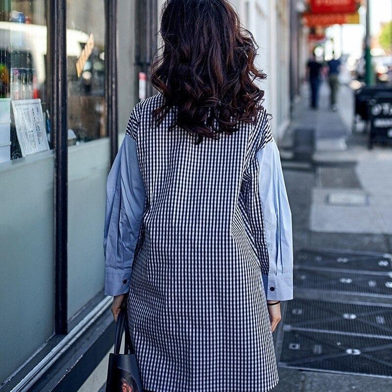 Poche Manches Vêtements Automne Tops Mode Grande À Irrégulière Coréenne Longues Femmes Blouse Patchwork Plaid Pour Blue Shirt Femme Twotwinstyle qwzY6fT