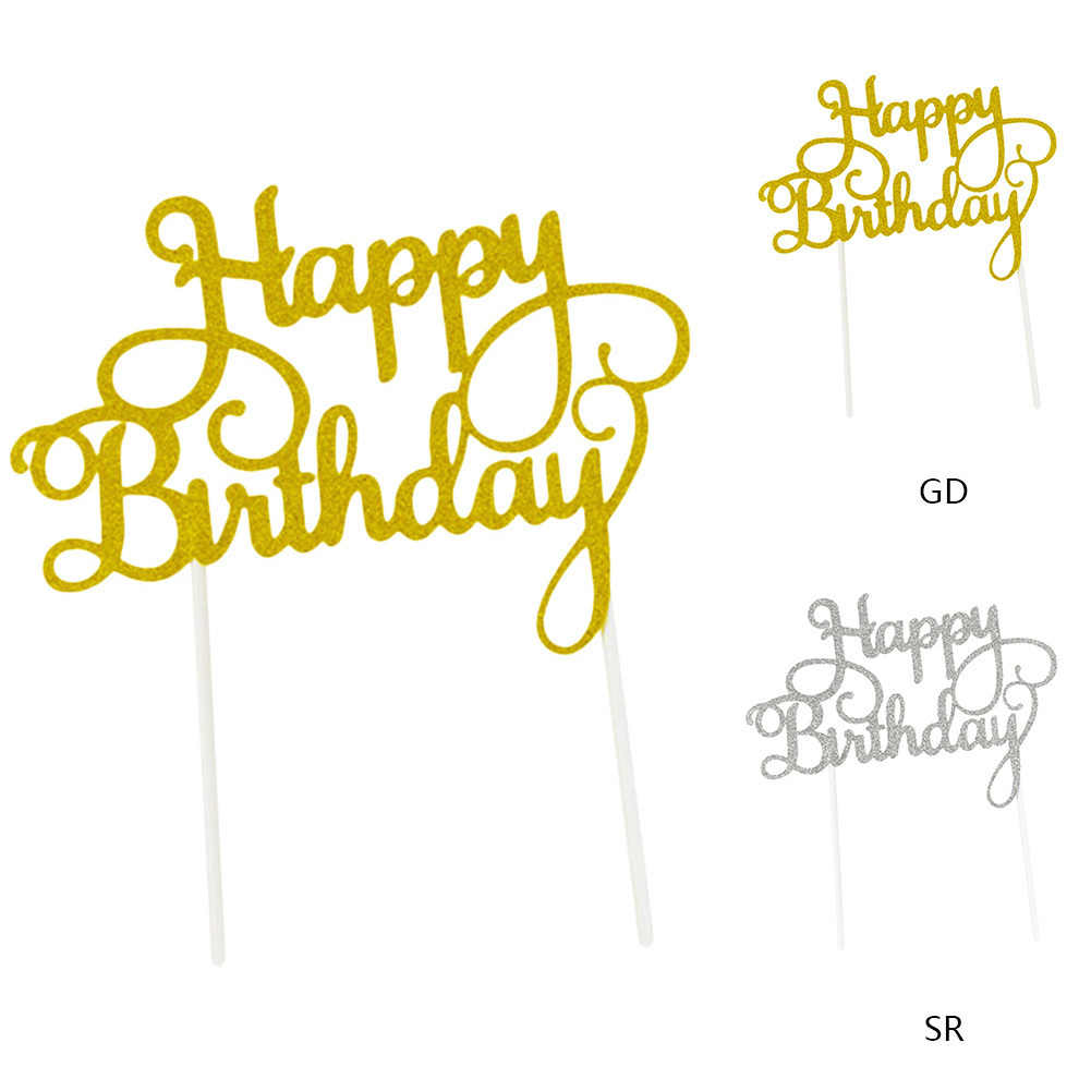 Gold Silver Glitter Happy Birthday Cake Cupcake Toppers For Kids Baby Shower DIY Party Cake Top Insert Flag Decoration Household