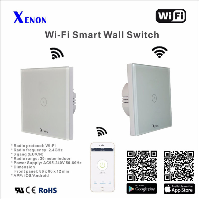 Xenon EU Wall Switch 1 Gang Light Switch Panel Smart Phone Control APP  Panel Turn On