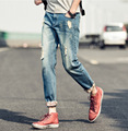 High Quality! The 2015 Men's Denim Pants Nine Summer Casual Pants Feet Thin Slim Hole In Jeans.
