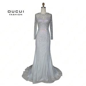 Image 4 - Real Photos Crystal Mermaid Long Sleeve Hand Made Illusion Full  Beading Long Evening Dress Close Back Luxury  OL103064B