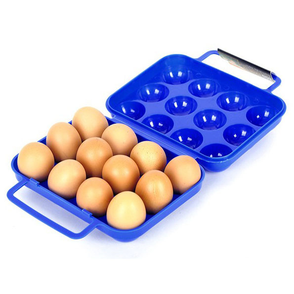 2018 new Outdoor barbecue supplies 12 grids portable anti-extrusion food grade plastic egg case picnic tools