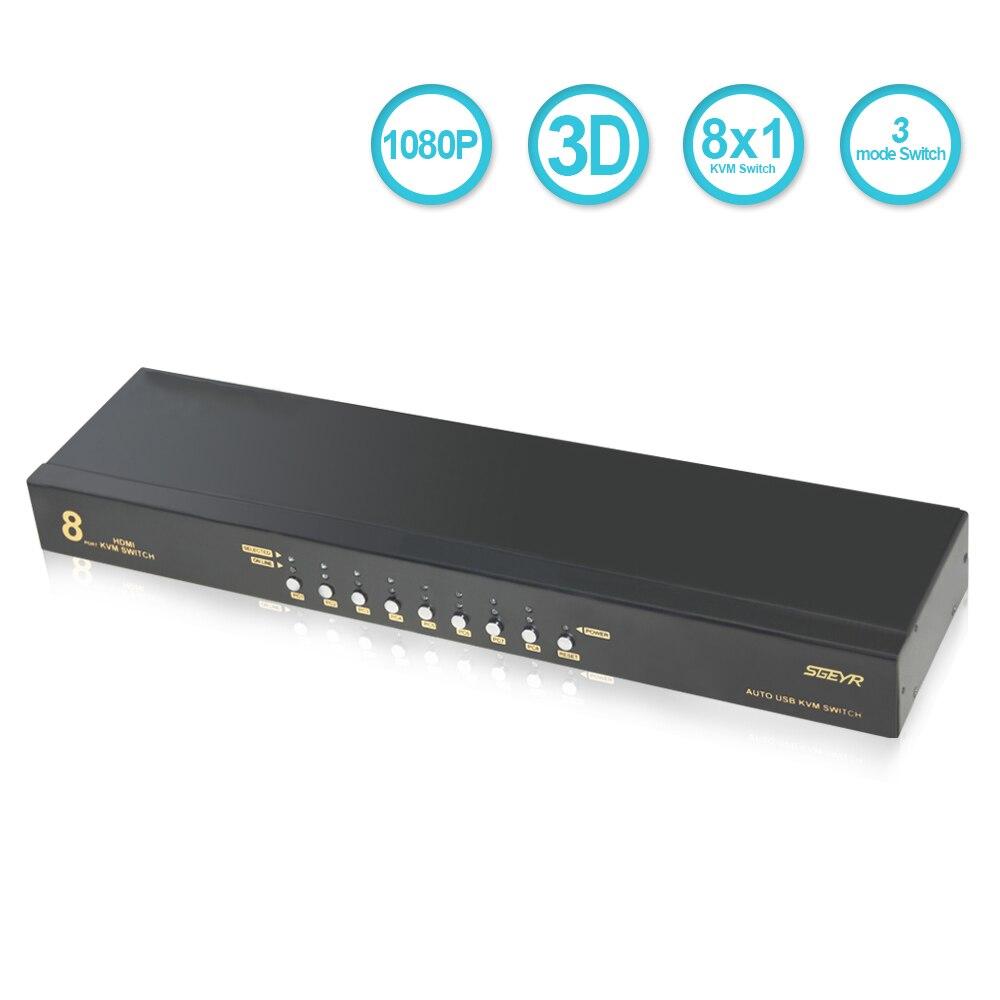 SGEYR 8 Порты и разъёмы HDMI USB KVM переключатель, USB 2,0 kvm-переключатель Поддержка USB 2,0 + кабель Наборы Поддержка автоматического сканирования горяч...