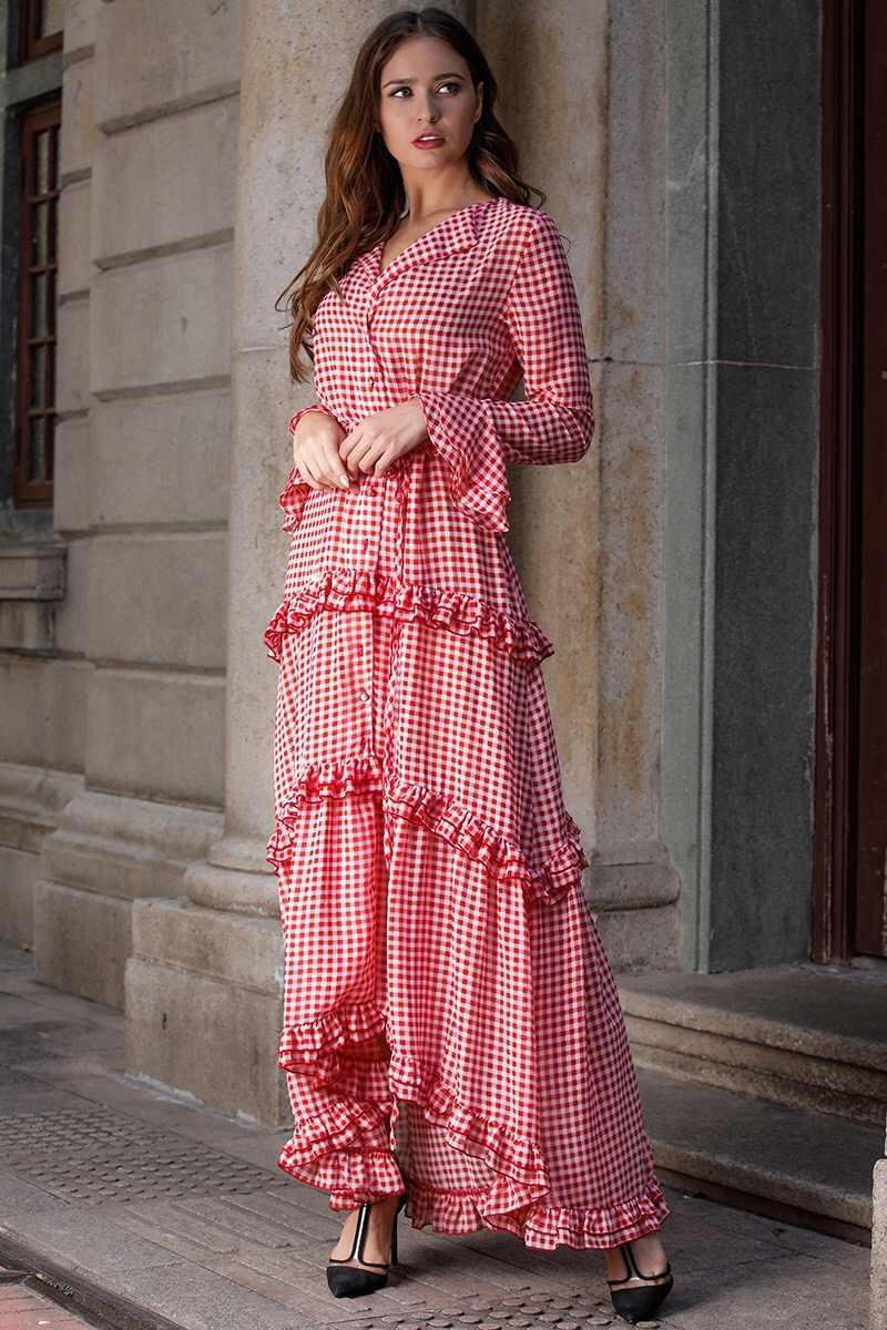 2019 BOHO с отворотом клетчатое платье с оборками винтажное женское платье с длинными расклешенными рукавами макси длинное деревянное нарядное платье с ушками