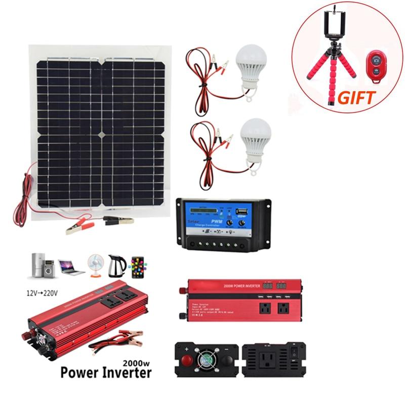 12 V 20 W Panel Solar con inversor de 2000 W 12 V a 220 V 10A controlador de cargador y unids 2 PCs lámpara Led monocristalina batería de celda Solar