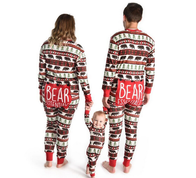 Family Christmas Pajamas Set Adult Kids BEAR Letter Sleepwear Pajamas Jumpsuit Mother Father Kid Animals Outfits Clothes цены онлайн