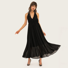 AcFirst Summer Lanon Women Red Black Long Dresses Backless Halter Ankle-Length Sexy Plus Size Club Evening Party