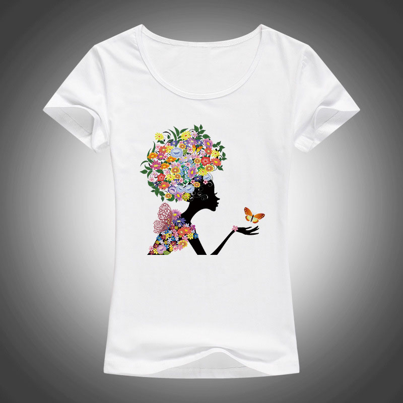 2017 Elastic Cotton T Shirt Women Floral Flowers Girl Print T-shirt Women Tops Funny butterfly T-Shirt Femme Clothes F78