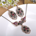 Blucome Turkish Turkey Necklace Earrings Set Vintage Retro Acrylic Flower Pendant Princess Hooks Aretes Retro Women Jewelry Sets