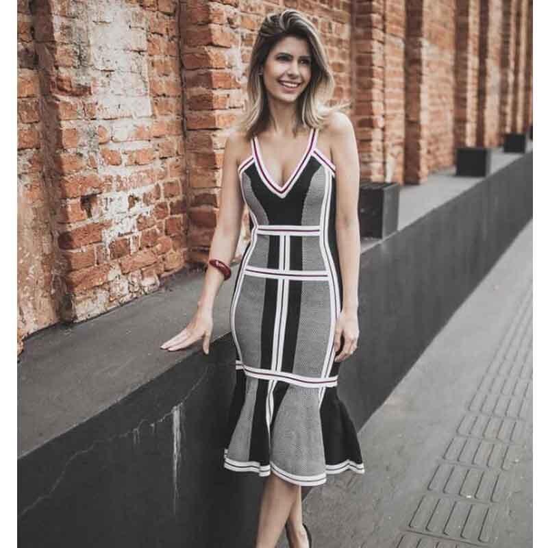 En gros 2019 nouvelles robes gris jacquard Spaghetti sangle v-cou Sexy célébrité fête bandage robe (L2763)