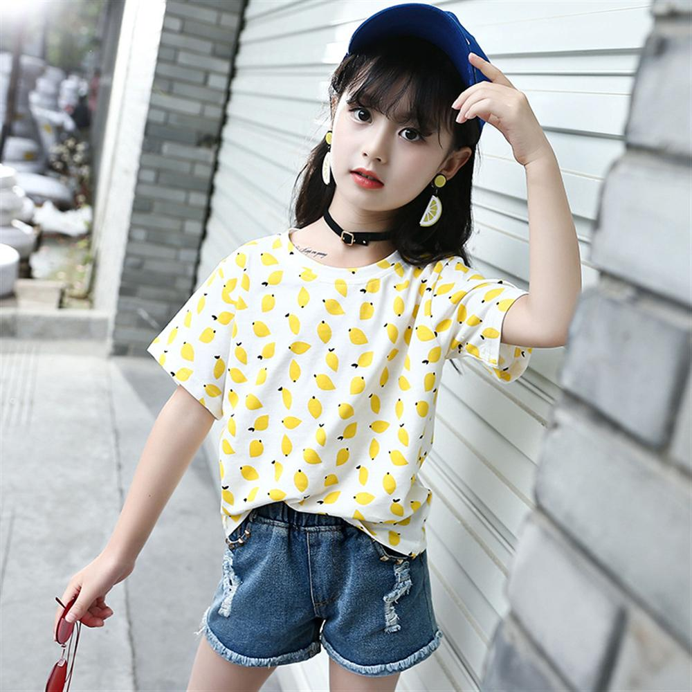 2018 New Summer Girl Tops Printing Letter Fruit Cotton Short-Sleeved Round Neck T-Shirt  ...
