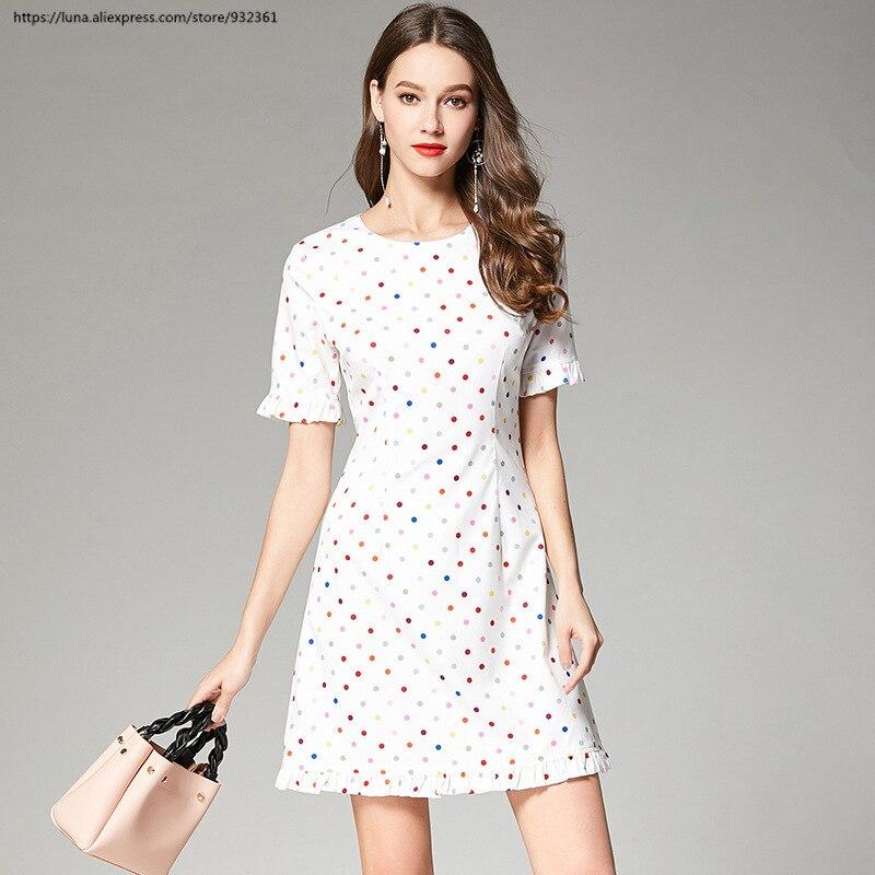 Fashion Polka dot Ruffle Summer Dress Women White Mini Dresses Blouse Girls Tops Vestidos robe femme ete 2019 polka dot
