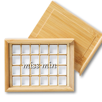 Caixa de armazenamento de pigmento de bambu caixa vazia pull type caixa de armazenamento de pigmento Paleta    -