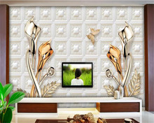 Custom wallpaper 3D stereo photo murals embossed jewelry calla lily wall papers home decor papel de parede mural 3d