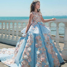 Pageant-Dresses Flower-Girls Lace Birthday Wedding-Party Floor-Length Blue Luxury Holiday