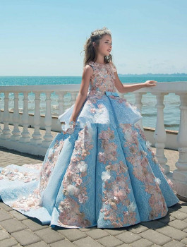 Luxury Blue Lace Girls Pageant Dresses Jewel Neck Appliques Floor Length Flower Girls Dresses Birthday Holiday Wedding Party