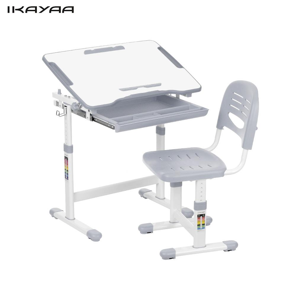 iKayaa Height Adjustable Kid's Study Desk Chair Set Tiltable Metal Frame Children Activity Art Table Set US Stock