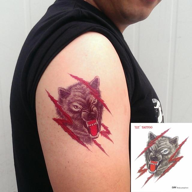 Temporaire Tatouage Autocollants Etanche Corps Epaule Bras Rouge