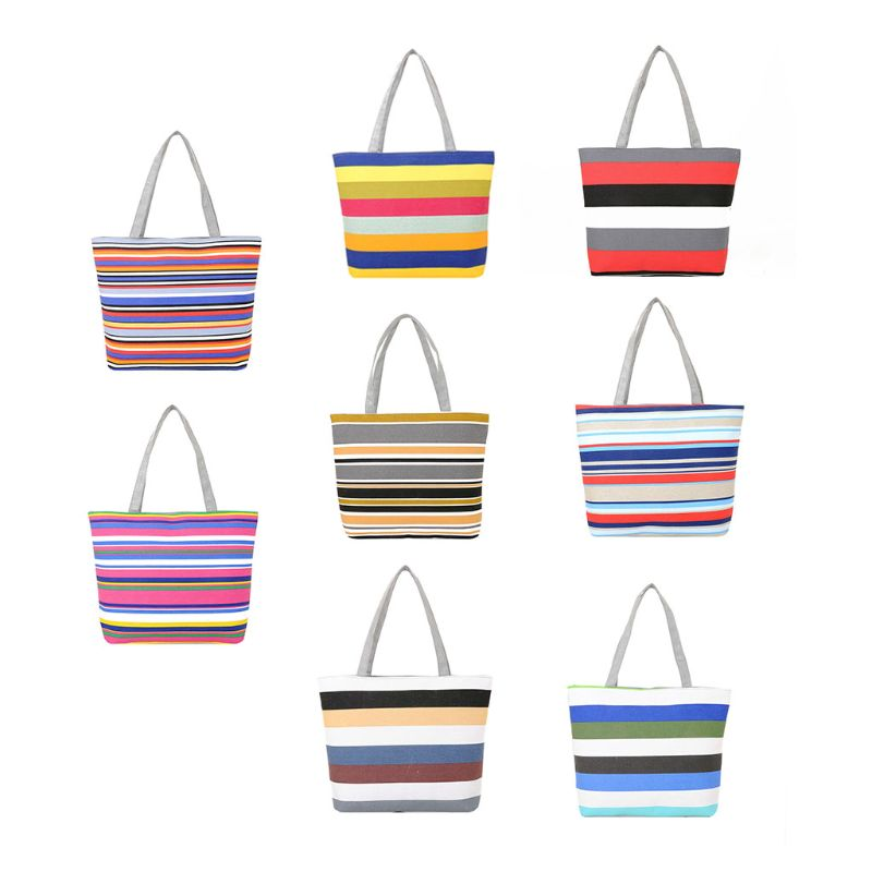Women Summer Beach Shoulder Bag Handbag Fashion Strips Canvas Shopping Tote Zipper Large Capacity