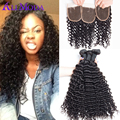 Cheap malaysian curly hair with closure human hair 8A malaysian virgin hair with closure 3pcs malaysian deep wave with Closure