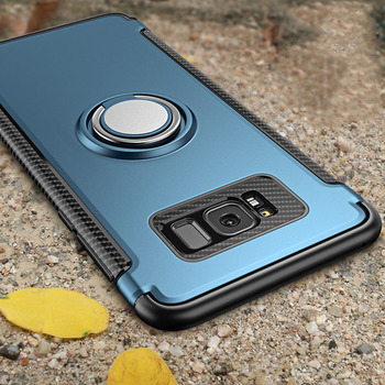 Galaxy S8 Protector Cover Ring Holder Stand Shockproof Armor Case