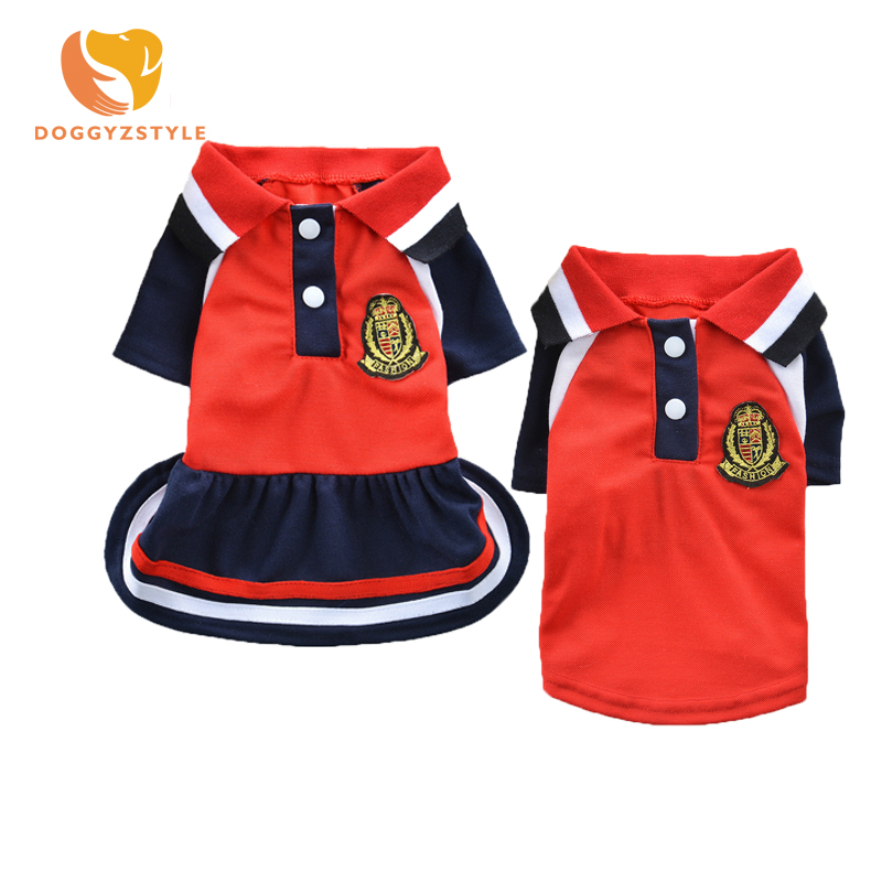School Style Pet Dog Clothes Puppy Girl Dress Boy Vest T Shirt Summer Apparels for Chihuahua Small Dogs Costumes Red Green