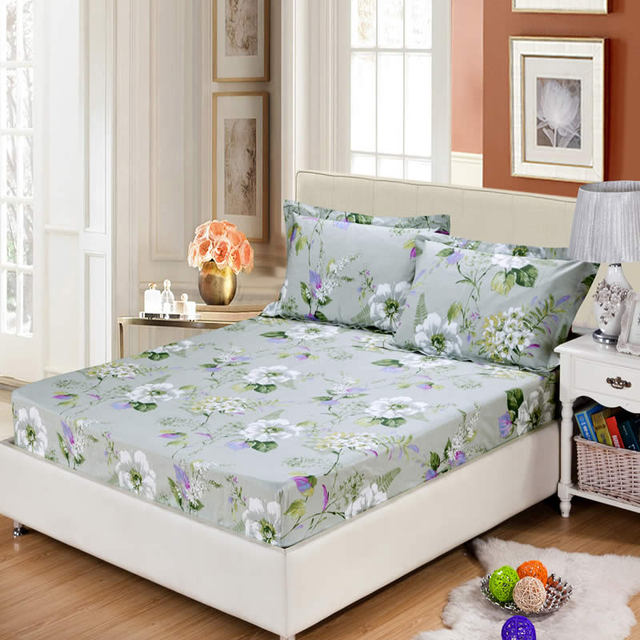 100% Cotton Fitted Sheet Mattress Cover Plaid Anime Printed Bedding Sheets  Elastic Edge Fixed Mattress