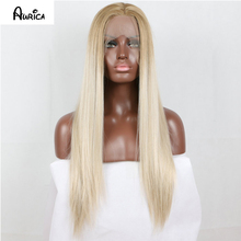 Natural Fashion Ombre Blonde Long Silk Straight Synthetic Lace Front Wig Full Glueless Brown Roots Heat Safe Hair Women Wigs