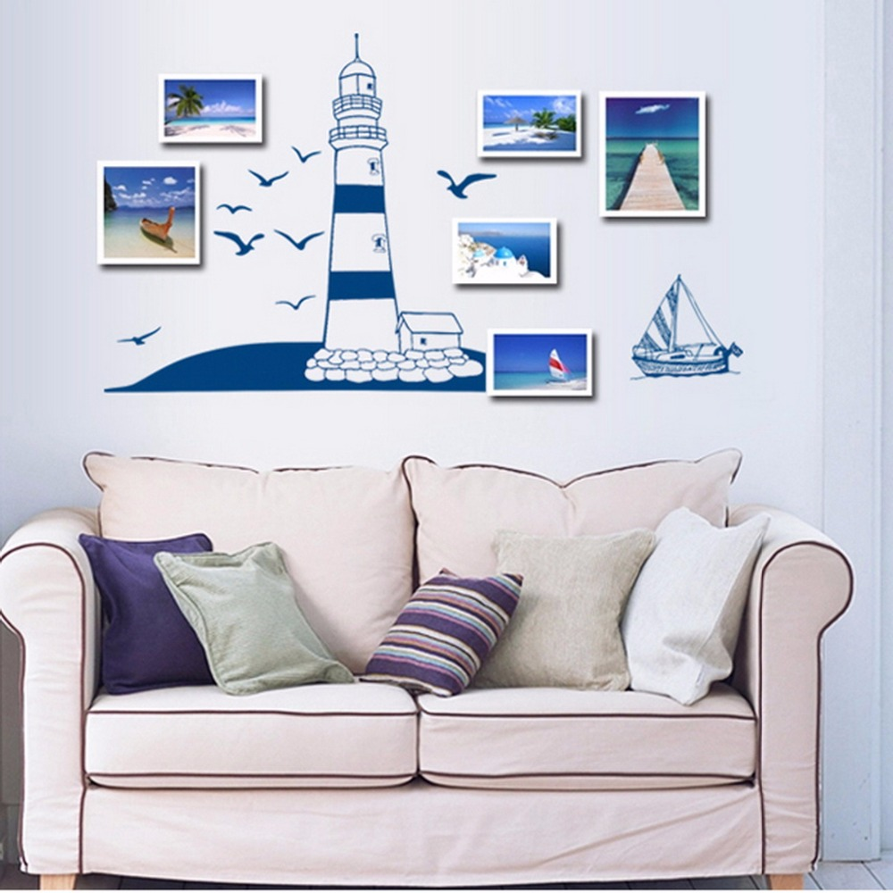 Lighthouse bedroom decor - Vinyl Wall Sticker Lighthouse Birds Ocean Gull Bedroom Removable Wall Decal Murals Art Decor Duvar Sticker
