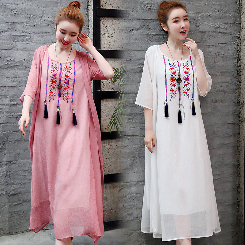 2019 New Cotton Linen Casual 2 Pieces Women Dresses Slim Sleeveless Dress And Cardigan Summer Embroidery Chinese Style Dress 2