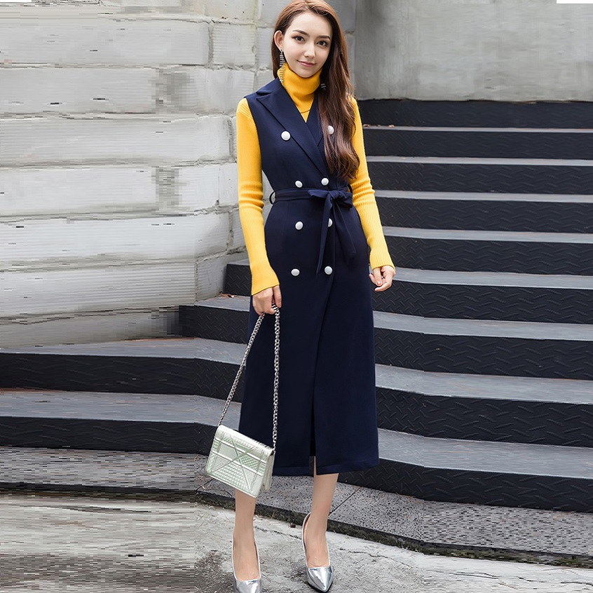 2017Autumn Fashion Ladies sleeveless trench coat Turn down collar double breasted outwear overcoat Plus size outfit