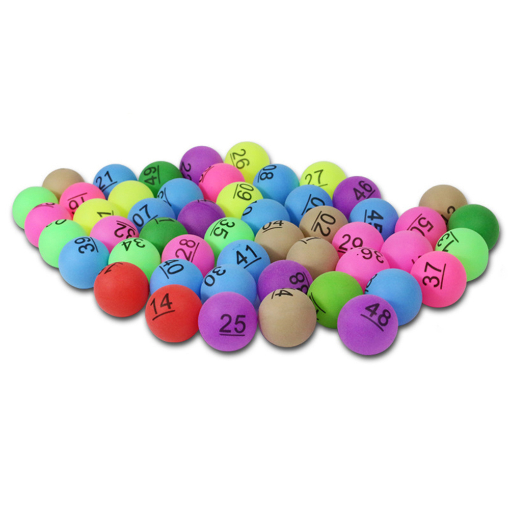50pcs/pack Colorful Entertainment Ping Pong Balls With Number Table Tennis Ball For Lottery Game Advertisement