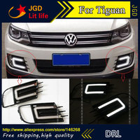 Free shipping ! 12V 6000k LED DRL Daytime running light for VW Tiguan 2013 2014 2015 fog lamp frame Fog light Car styling