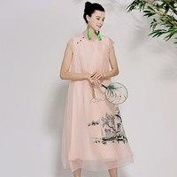 Для женщин Красивые платья летние винтажные королевская вышивка цветочные элегантный леди белый/синий/розовый свободный шелковой органзы