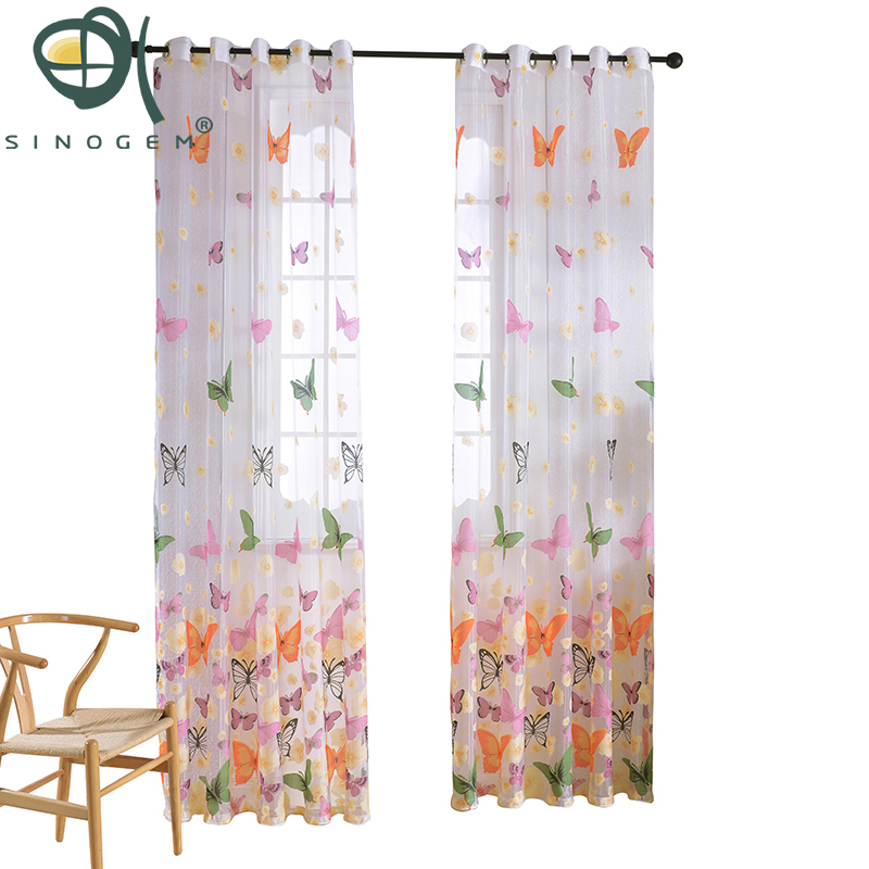 Sinogem marca terminado mariposa tul para cortina de ventana voile - Textiles para el hogar