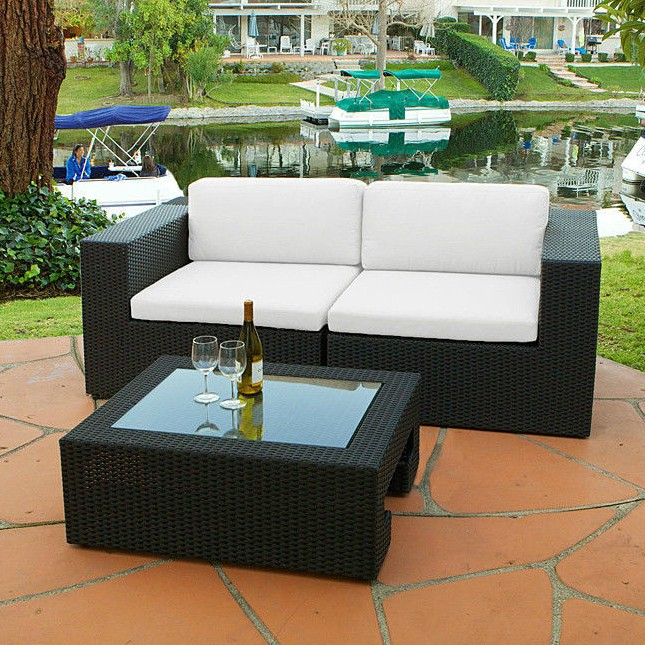 2017 3 Piece Outdoor Wicker Furniture Sofa Loveseat And Table Set(China  (Mainland)
