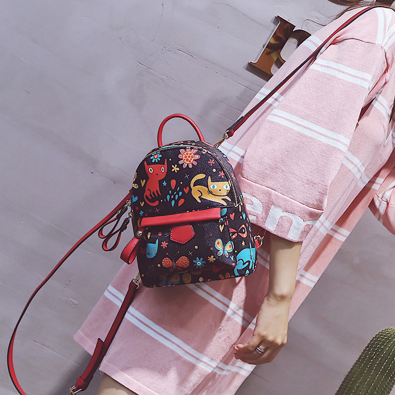 Korean Fashion Cat Printing Backpack PU Leather Mini Backpacks Women School Bags for Teenage Girls Japanese Cute Backpack 2016 fashion women waterproof pu leather rivet backpack women s backpacks for teenage girls ladies bags with zippers black bags