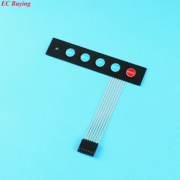 1x5 Key Matrix Membrane Switch Control Panel Keypad Keyboard Slim with 1 led/ Auto Menu Left Right Power