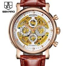 2017New SEKARO Men Brand Mechanical Watch Multi-function 7-pin Automatic Stylish Classic Skeleton Steampunk Wristwatch Xmas Gift