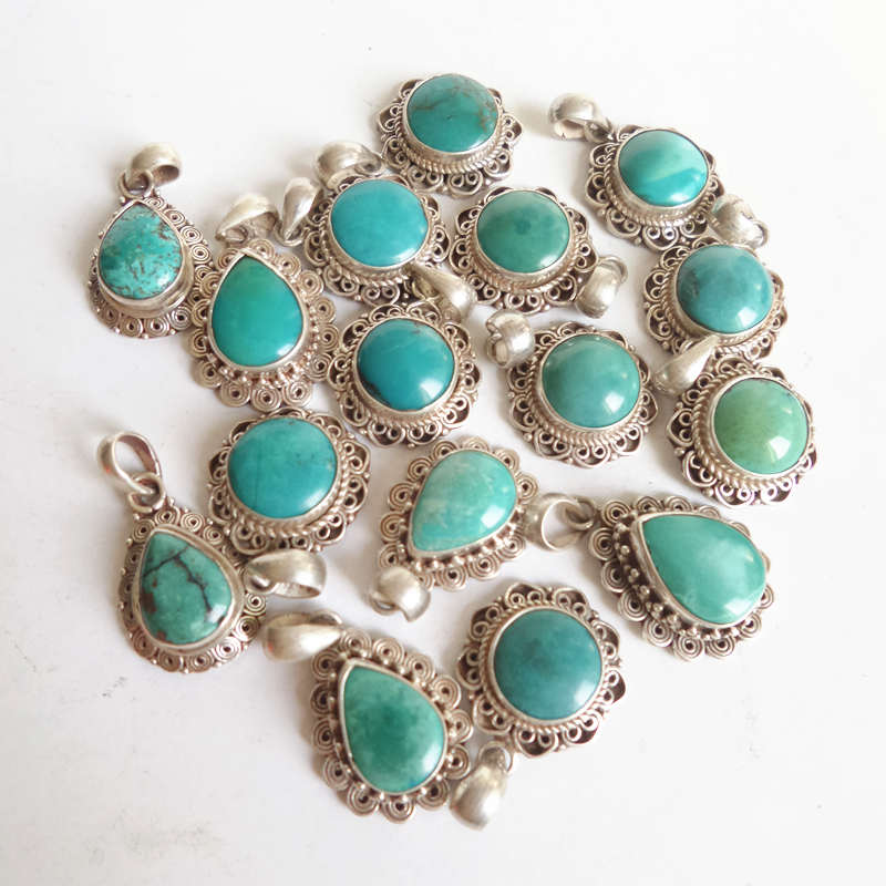 T9158 Tibet Natural Turquoises Stone Charms Nepal 925 Sterling Silver Vintage Lovely Jewelry