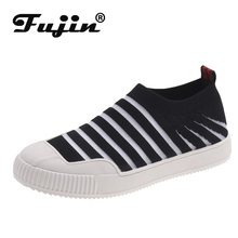 Fujin 2019 Summer New Casual Openwork Canvas Shoes Dropshipping Round Head Flat Women Fashion Deep Mouth Set Foot