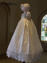5029bd1aa1c16 Nouveau Blanc Dentelle Perles Bébé Filles Robe De Baptême Longue Robe de  Baptême Bébé Robe avec Bonnet Nouveau-Né Robe De Baptêm.