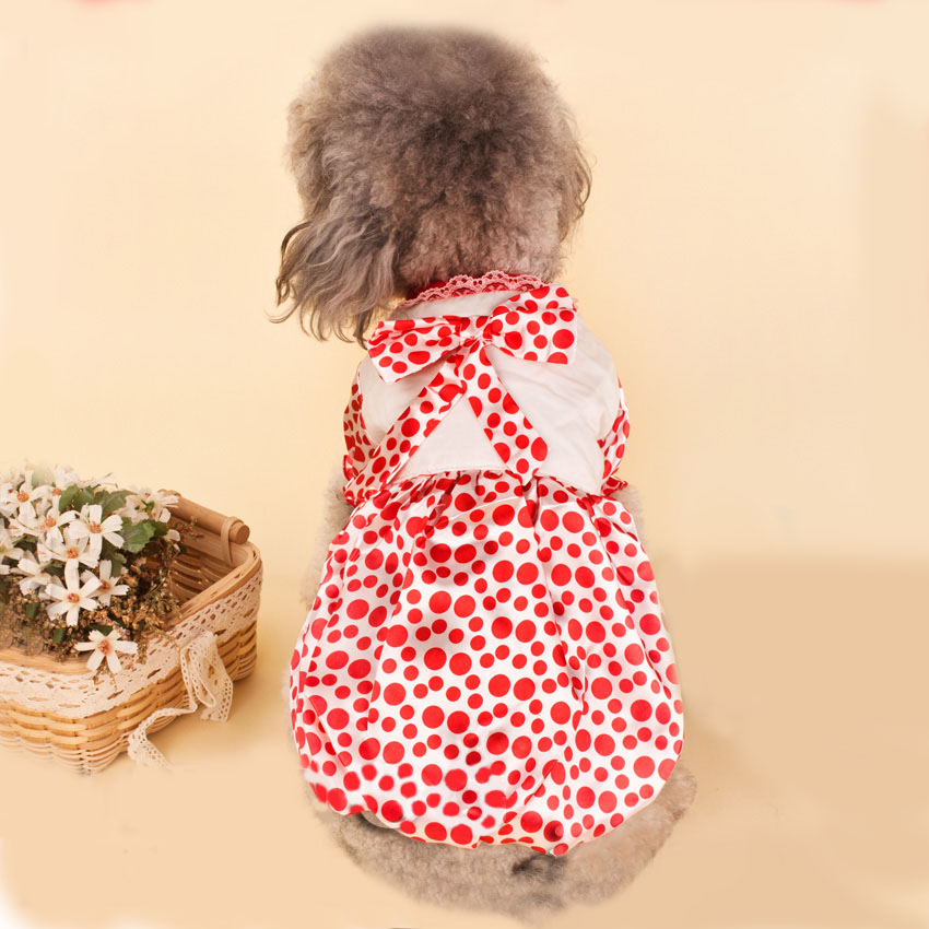 Dog Cotton Princess Cut dot Dress Lovely Dow Tie Summer Dog Dress Size XXS XS S M L