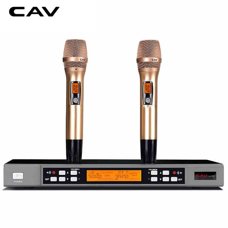 CAV U-757 Micros Transmetteur Ensembles Tenu Dans la main Professionnel De Karaoké Micros Double PCS À Usage Domestique Sans Fil Or Microphone