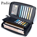 Padieoe Business Men's Genuine Leather Long Wallet Phone Card Holder Real Cowhide Multi-Function Cluth Bag Wristlet Purse