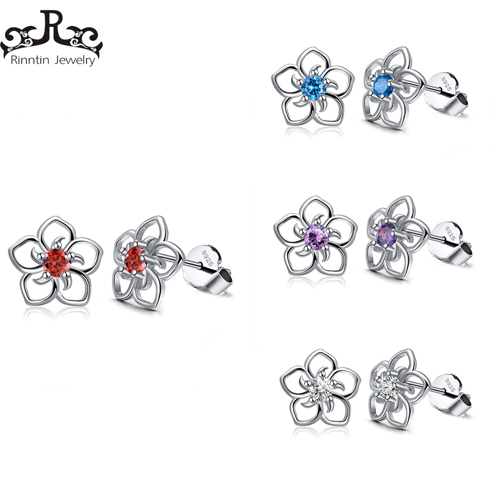 Rinntin Sterling Silver Stud Earrings For Women Real 925 Femine Aretes Clear Red Blue Purple AAA Cubic Zircon Jewelry TSE71