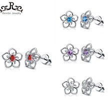 Rinntin Sterling Silver Stud Earrings Untuk Wanita Real 925 Femine Aretes Clear Red Blue Purple AAA Cubic Zircon Jewelry TSE71