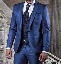 New Style Groomsmen Shawl Lapel Groom Tuxedos Red/White/Black Men Suits Wedding Best Man Blazer (Jacket+Pants+Vest)